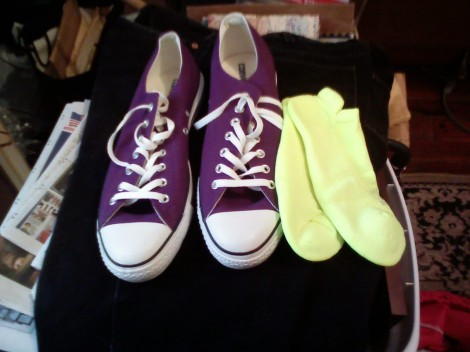 Brute Force's new performance purple Converse sneaks and bright yellow socks